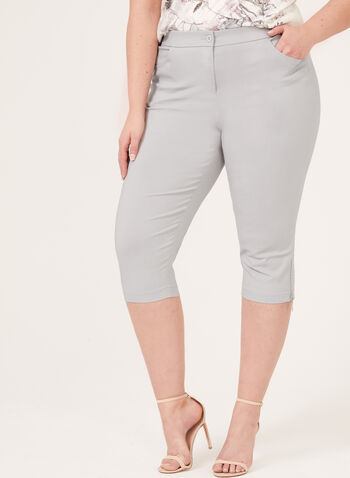 Crystal Zip Detail Capri Pants, Grey, hi-res