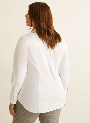 Fitted Cotton Shirt, White,  top, shirt, cotton, long sleeves, buttons, fitted, darts, stretchy, spring summer 2020