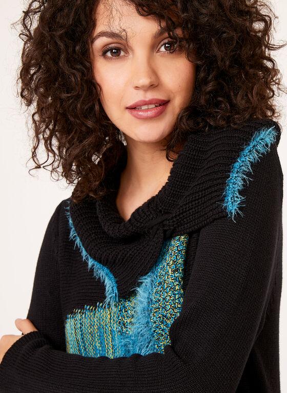 Alison Sheri - Split Turtleneck Knit Sweater, Blue, hi-res