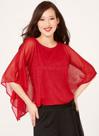 Cold Shoulder Glitter Poncho, Red, hi-res
