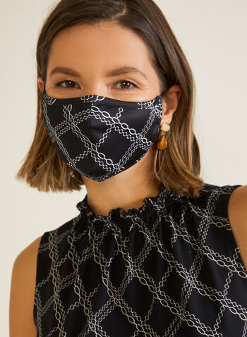 Chain Print Mask, Black,  mask, fabric, chain print, reusable, washable, fall winter 2020