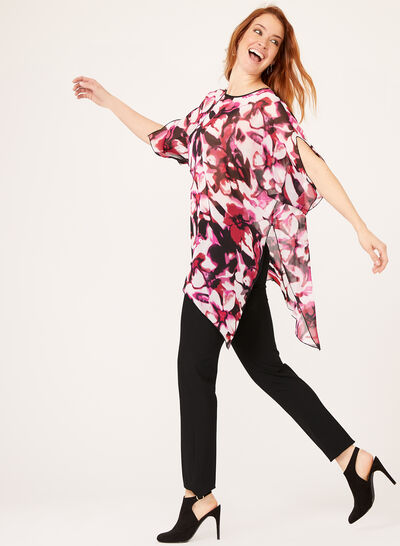 Sheer Floral Print Poncho Blouse
