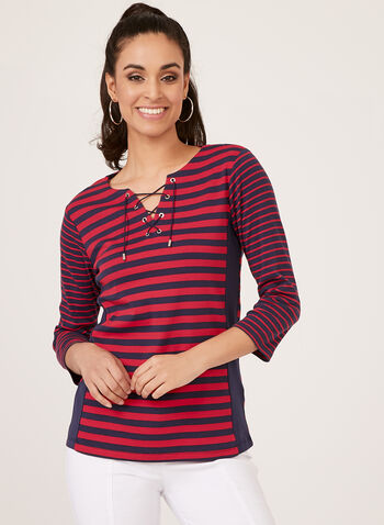 Stripe Print Lace Up Neck Top, Blue, hi-res