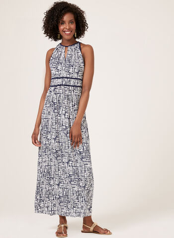 Abstract Print Maxi Dress, Blue, hi-res