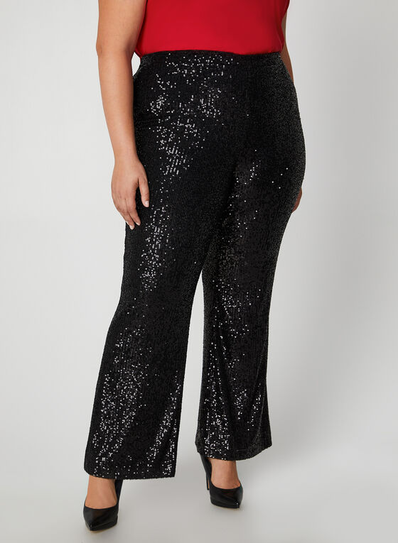 Frank Lyman - Pantalon pull-on en sequins, Noir