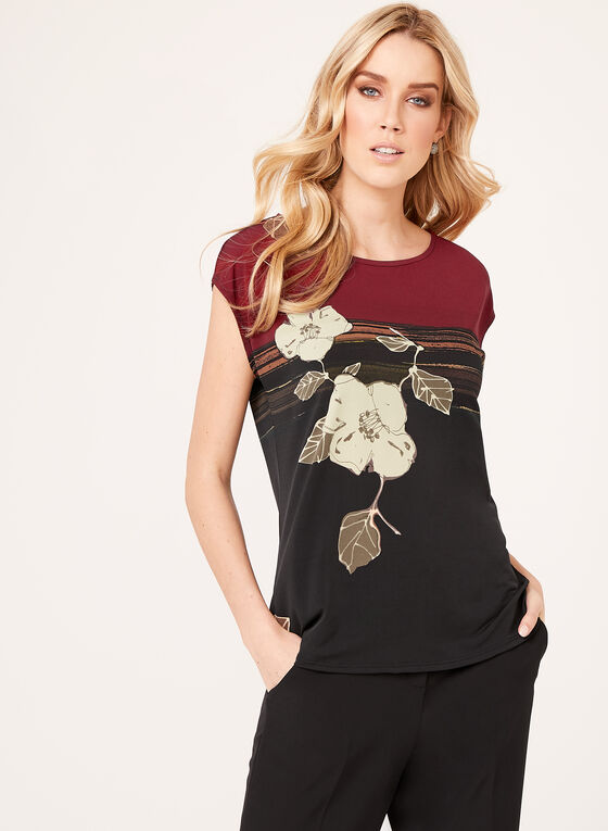 Short Sleeve Jersey Top, Black, hi-res