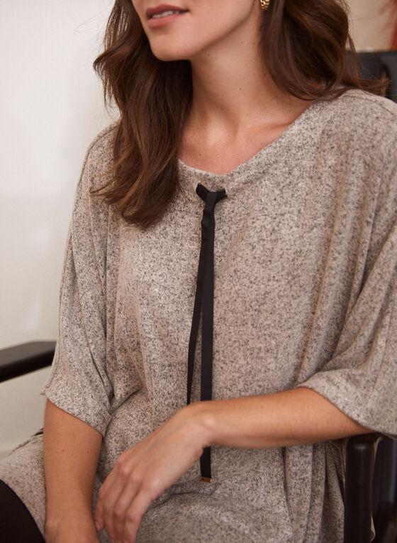 Ribbon Detail Knit Poncho Top, Grey