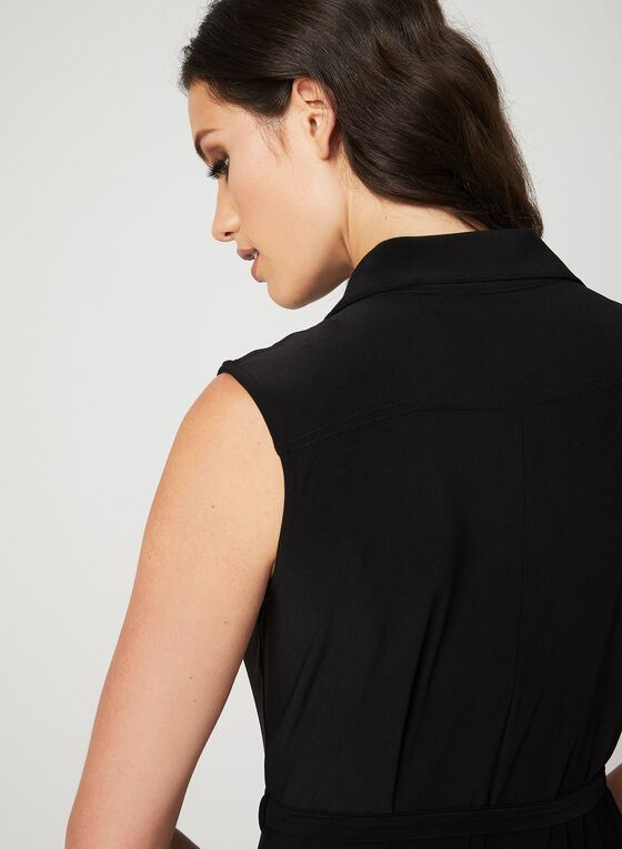 Nina Leonard - Robe sans manches à col chemisier, Noir, hi-res
