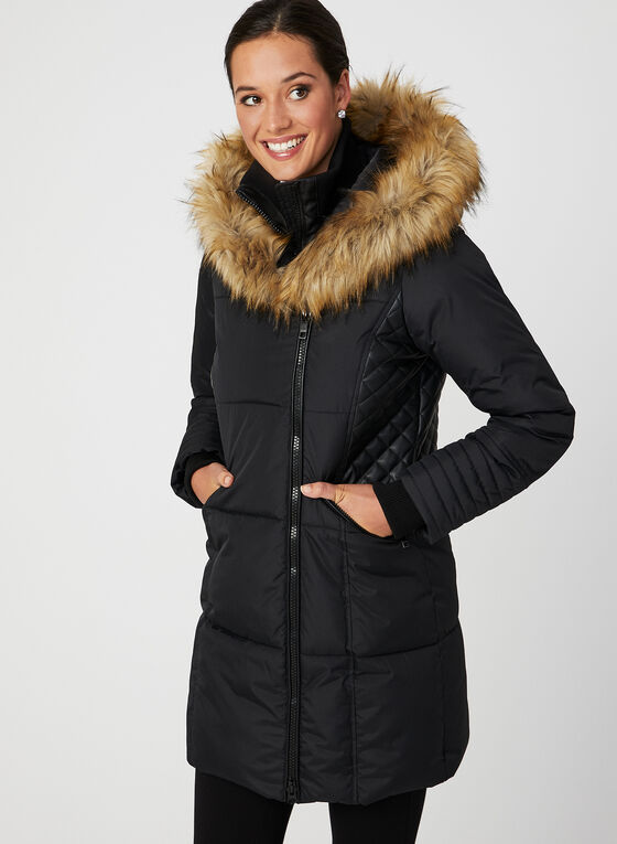 Hooded Faux-Down Quilted Coat, Black, hi-res
