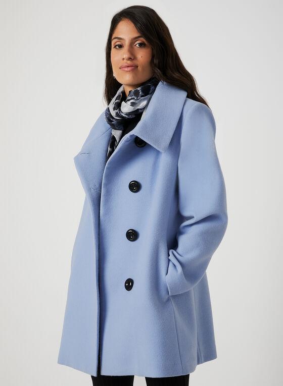 Manteau aspect laine, Bleu