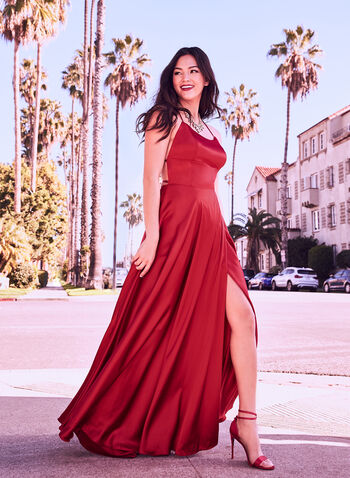 Satin Charmeuse Gown, Red, hi-res,  Prom 2019, graduation, ball