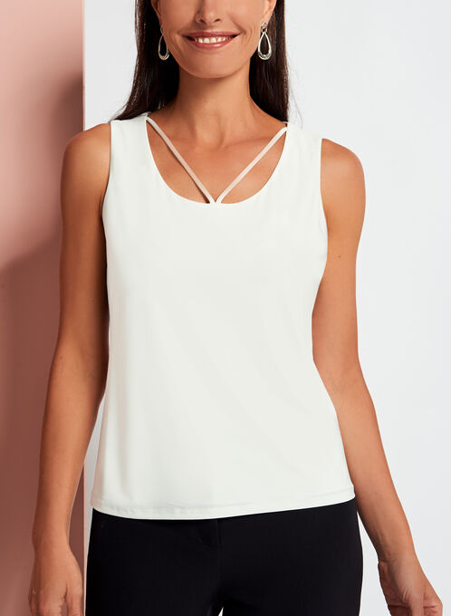 Sleeveless Lace Cutout Jersey Top, Off White, hi-res