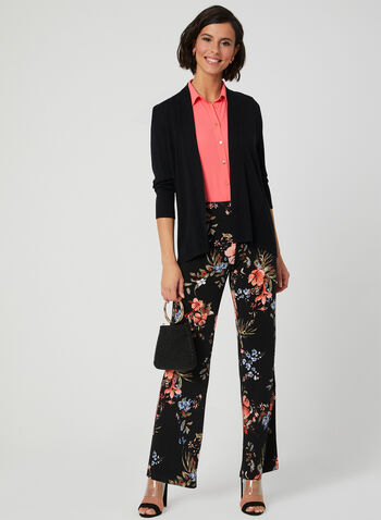 Pantalon pull-on à fleurs, Noir, hi-res,  pantalon, pull-on, jambe large, fleurs, printemps 2019