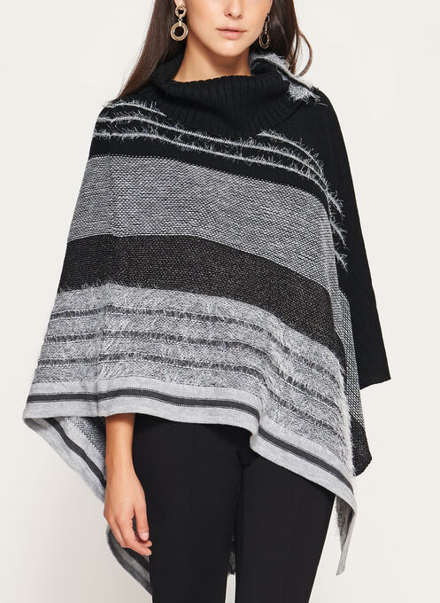 Asymmetric Stripe Print Poncho , Black, hi-res