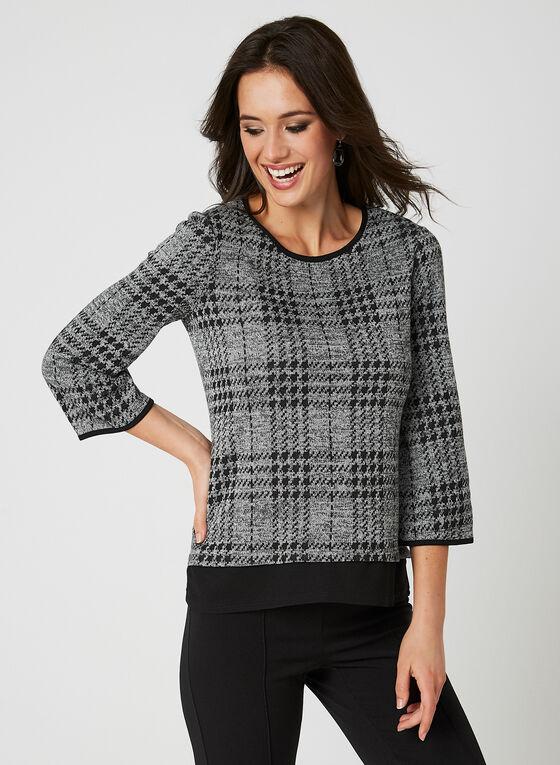 Plaid Print Knit Top, Grey, hi-res