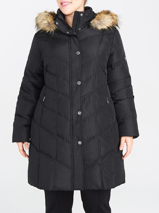 Manteau long en duvet à bouton-pression décoratif, Noir, hi-res