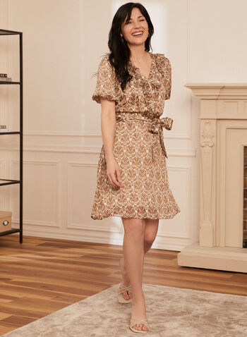 Paisley Print Dress, Beige,  spring summer 2021, accessories, accessory, puff sleeves, short sleeved, paisley print, lurex, metallic fiber, button front closure, v neck