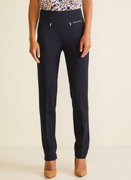 Straight Leg Pull-On Pants, Blue