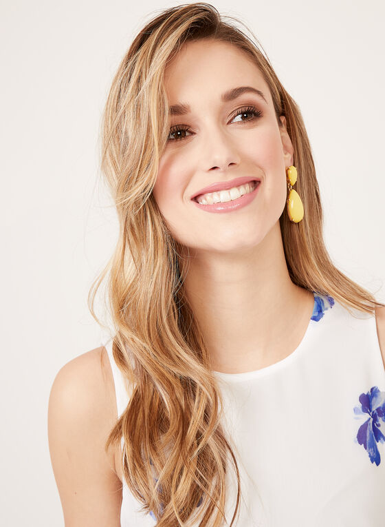 Jessica Howard - Robe droite fleurie sans manches, Blanc, hi-res