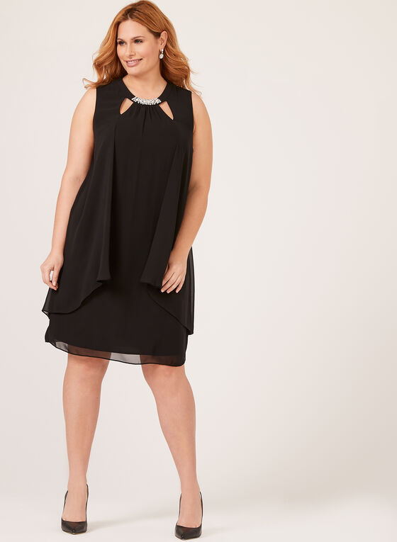Sleeveless Pearl Detail Jewel Neck Dress, Black, hi-res