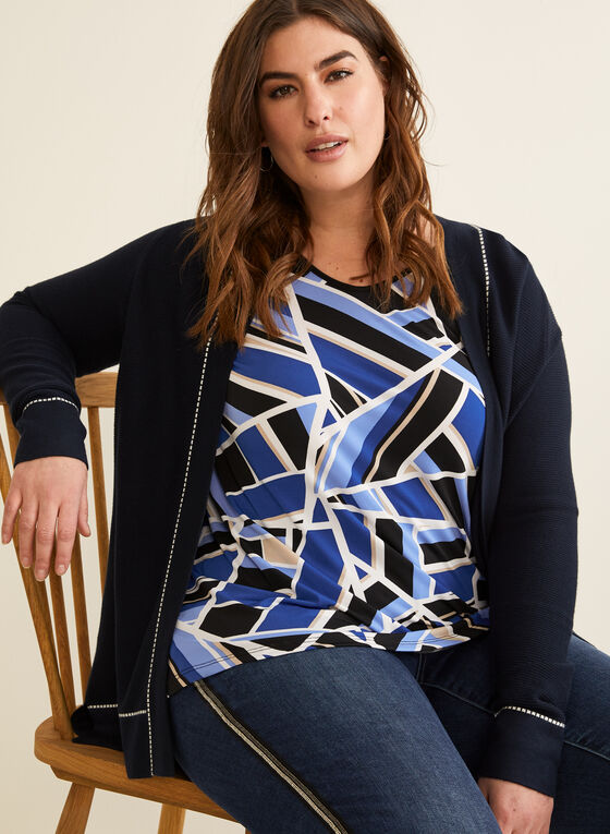 Geometric Print Top, Blue