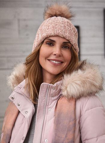 Bonnet avec pompon , Rose,  tuque, pompon, chenille, douceur, fausse fourrure, tuque, bonnet, chapeau, automne hiver 2020