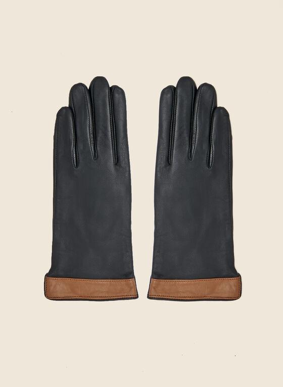 Gants en cuir deux tons, Noir