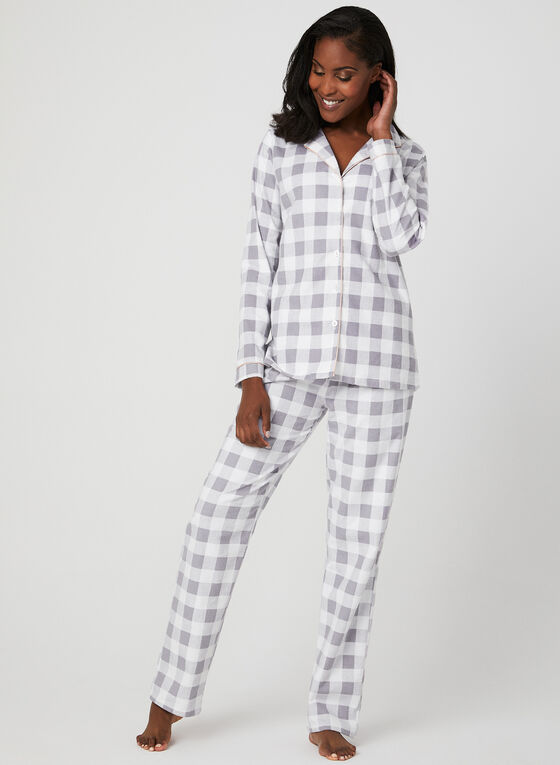 Midnight Maddie - Flannel Pyjama Set, Grey, hi-res