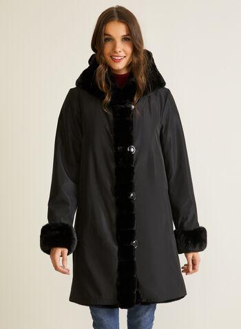 Manteau réversible en fausse fourrure, Noir,  automne hiver 2020, manteau, réversible, fausse fourrure, poches