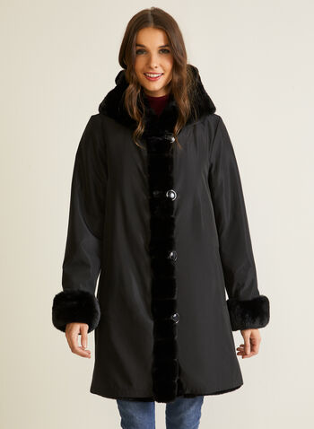 Reversible Faux Fur Coat, Black,  coat, faux fur, waterproof, reversible, hood, pockets, fall winter 2020