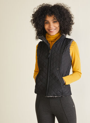 Weatherproof - Reversible Quilted Vest, Black,  vest, sleeveless, quilted, faux fur, pockets, fall winter 2020