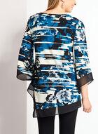 Tunique asymétrique à fleurs et manches ¾, Bleu, hi-res