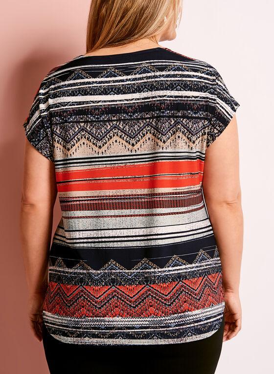Tribal Stripe Print Tassel Front Top, Red, hi-res