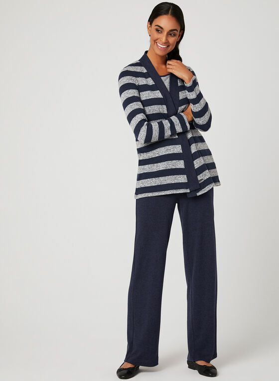 Striped Knit Open Front Cardigan, Blue, hi-res