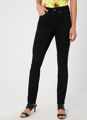Modern Fit Straight Leg Jeans, Black, hi-res,  rhinestones, crystals, stretchy, modern fit, straight leg, fall 2019, winter 2019
