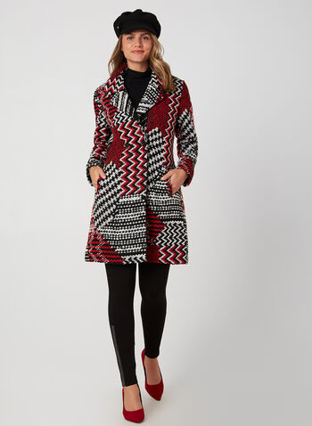 Patchwork Print Coat, Black, hi-res,  coat, long sleeves, knit, notch collar, patchwork, fall 2019, winter 2019