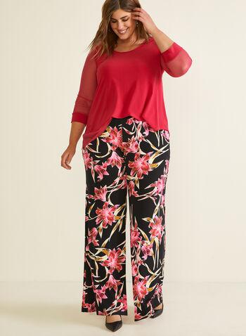 Joseph Ribkoff - Pantalon fleuri à jambe large, Noir,  pantalon, pull-on, moderne, jambe large, fleurs, poches, printemps été 2020