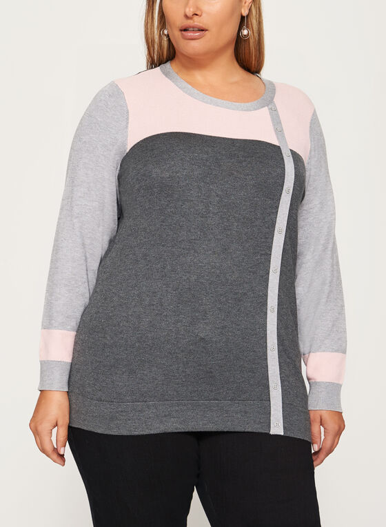 Pointelle Detail Button Trim Sweater, Grey, hi-res