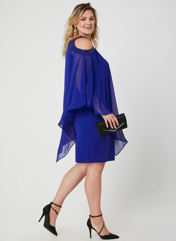 Cold Shoulder Poncho Dress, Blue,  chiffon, jersey, cold shoulder, cutouts, sequins, layered, fall 2019, winter 2019