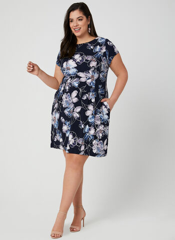 Floral Print Jersey Dress, Blue, hi-res,  pockets, short sleeves, spring 2019