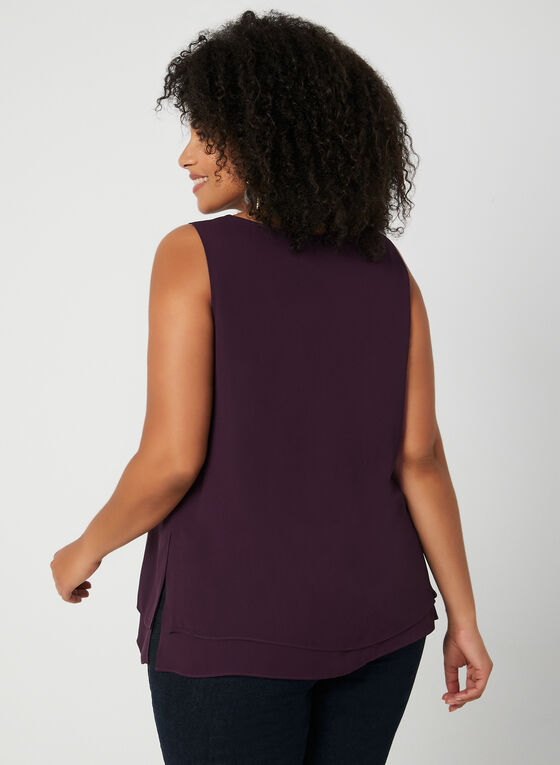 Sleeveless Crepe Blouse, Purple, hi-res