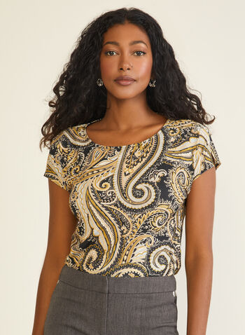 Paisley Print Short Sleeve Top, Black,  top, paisley, short sleeves, fall winter 2020