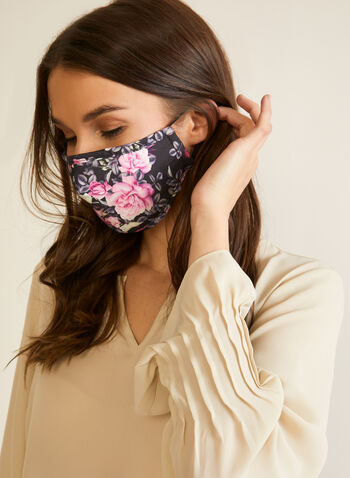 Set of 2 Masks, Pink,  masks, cotton, floral lace, monochrome, adjustable, filter, set, fall winter 2020