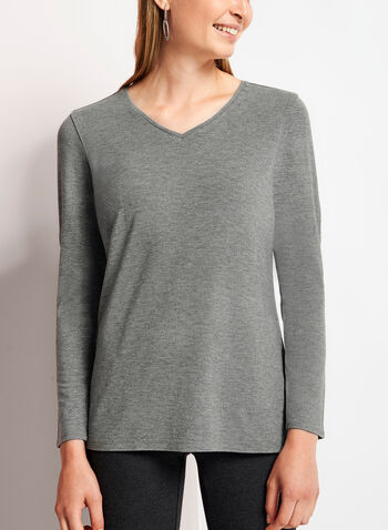 Long Sleeve V-Neck Top, Grey, hi-res