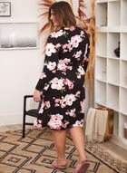 Floral Robe & Nightgown Set, Black