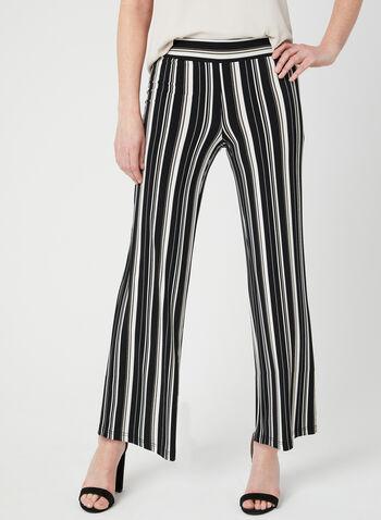 Pantalon pull-on rayé à jambe large, Noir, hi-res,  pantalon, pull-on, jambe large, rayures, printemps 2019