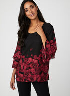 Rose Petal Print Blouse, Black, hi-res
