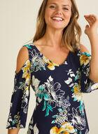 Floral Print Cold Shoulder Dress, Blue