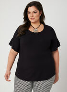 Ruffle Sleeve T-Shirt, Black, hi-res
