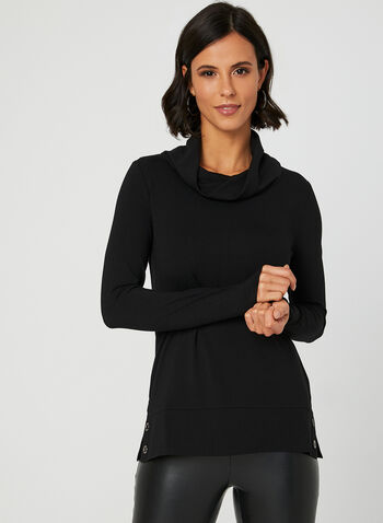 Long Sleeve Cowl Neck T-Shirt, Black, hi-res